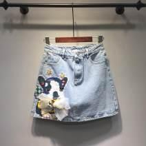 Women's large Summer 2021 wathet Large L, large XL, s, m, 2XL, 3XL, 4XL, 5XL skirt commute thin Animal design Korean version cotton Ocnltiy 18-24 years old Diamond inlay 96% and above Short skirt