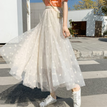 skirt Spring 2021 Average size Black, white, apricot Mid length dress commute High waist A-line skirt Solid color Type A Other / other Korean version