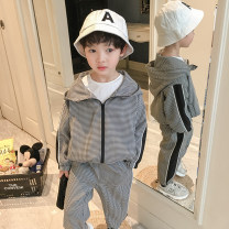 suit Class two Black and white check male spring and autumn leisure time Long sleeve + pants 2 pieces routine There are models in the real shooting Zipper shirt nothing other cotton 211MYTZ310 Class B Three, four, five, six, seven, eight, nine, ten