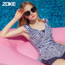 one piece  Zoke / zhouke M L XL 2XL 3XL 118501548 blue and white striped flower_ 2 (with steel ring) sling 120501552 blue and white striped flower (without steel ring) (zipper) striped skirt swimsuit Navy swimsuit Skirt one piece Steel strap breast pad Spandex polyester Autumn 2020 no female stripe