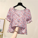 Women's large Summer 2021 Decor M [reference 80-95 Jin], l [reference 95-110 Jin], XL [reference 110-125 Jin], 2XL [reference 125-140 Jin], 3XL [reference 140-160 Jin], 4XL [reference 160-180 Jin] shirt singleton  commute easy thin Socket Short sleeve Broken flowers Korean version square neck Button