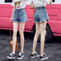 Jeans Summer 2021 Blue, black, white S [reference 80-90 Jin], m [reference 90-100 Jin], l [reference 100-110 Jin], XL [reference 110-120 Jin], 2XL [reference 120-130 Jin] shorts High waist Wide legged trousers routine 18-24 years old Make old, wash, whiten, zipper, button other light colour