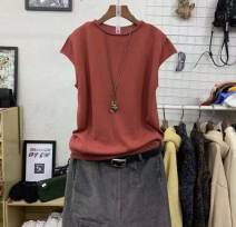 Wool knitwear Spring of 2019 Average size White, dark gray, black, apricot, brown, yellow, embroidered red Short sleeve singleton  Socket cotton 81% (inclusive) - 90% (inclusive) Regular routine commute easy routine Solid color Socket literature