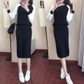 Dress Autumn of 2019 Black [two piece suit] S,M,L,XL,2XL,3XL longuette Two piece set Long sleeves commute Crew neck High waist Solid color Socket other routine Others 18-24 years old Type H Other / other Korean version 81% (inclusive) - 90% (inclusive) other polyester fiber