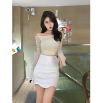 skirt Summer 2021 S,M,L White, sky blue, black Short skirt commute Natural waist skirt Solid color 18-24 years old More than 95% cotton