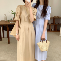 Dress Summer 2021 Blue [in stock], card color [in stock] S, M singleton  Crew neck A-line skirt Others 18-24 years old 71% (inclusive) - 80% (inclusive) other