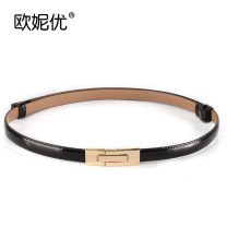 Belt / belt / chain Double skin leather female belt Versatile Single loop Youth, youth a hook Glossy surface Patent leather alloy Bare body, heavy line decoration, candy color Ou niyou A2110 95cm
