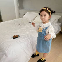Dress blue female Other / other 90cm,100cm,110cm,120cm,130cm,140cm Other 100% spring and autumn Korean version Strapless skirt Solid color cotton Strapless skirt Class A 12 months, 6 months, 9 months, 18 months, 2 years old, 3 years old, 4 years old, 5 years old, 6 years old, 7 years old, 8 years old