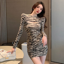 Dress Spring 2021 Khaki, black and white S,M,L Middle-skirt singleton  Long sleeves commute Crew neck High waist stripe Socket A-line skirt routine 18-24 years old Type A Korean version 51% (inclusive) - 70% (inclusive) polyester fiber