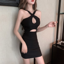 Dress Summer 2021 White, black Average size Short skirt singleton  Sleeveless commute other middle-waisted Solid color Socket One pace skirt other Hanging neck style 18-24 years old Type H Hollowing out 31% (inclusive) - 50% (inclusive) brocade cotton