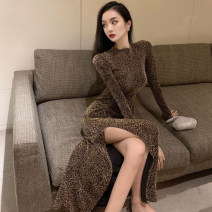 Dress Spring 2021 Leopard Print S, M longuette singleton  Long sleeves commute Crew neck High waist Solid color One pace skirt 18-24 years old Type H Korean version A3150 51% (inclusive) - 70% (inclusive) polyester fiber