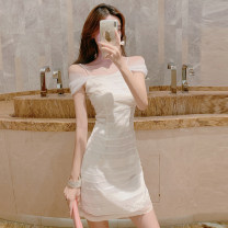 Dress Summer 2021 white S,M,L Short skirt singleton  Short sleeve commute One word collar High waist Solid color zipper One pace skirt camisole 18-24 years old Type A Korean version Pleats, lace 51% (inclusive) - 70% (inclusive)