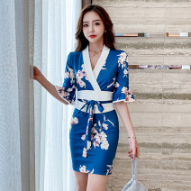 Dress Spring 2021 Decor S,M,L Short skirt singleton  Long sleeves commute V-neck High waist Decor Socket One pace skirt routine 25-29 years old Type H Korean version printing 51% (inclusive) - 70% (inclusive) polyester fiber