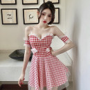 Dress Spring 2021 Red check, black check Average size Short skirt singleton  Short sleeve commute One word collar High waist lattice Socket A-line skirt routine camisole 18-24 years old Type A Korean version M337 polyester fiber