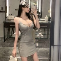 Dress Summer 2021 Gray, black S,M,L Short skirt singleton  Sleeveless street V-neck middle-waisted Solid color Socket One pace skirt camisole 18-24 years old Type H Hollowing out 51% (inclusive) - 70% (inclusive) other polyester fiber Europe and America
