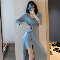 Dress Spring 2021 Blue, black Average size Mid length dress singleton  Long sleeves commute V-neck High waist Solid color other Type H Other / other lady fold 51% (inclusive) - 70% (inclusive) polyester fiber