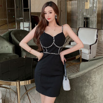 Dress Spring 2021 Blue, black S, M Short skirt singleton  Sleeveless commute V-neck High waist Solid color Socket One pace skirt camisole Type H Other / other Korean version Diamond inlay 81% (inclusive) - 90% (inclusive) knitting nylon