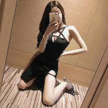 Dress Summer 2021 black S,M,L,XL Short skirt singleton  Sleeveless commute High waist Solid color Socket A-line skirt camisole 18-24 years old Type A Other / other Korean version backless 31% (inclusive) - 50% (inclusive) polyester fiber