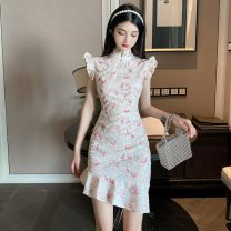 Dress Spring 2021 Red flower, green flower S,M,L Short skirt singleton  commute stand collar High waist Decor Socket A-line skirt Flying sleeve Others Retro printing 51% (inclusive) - 70% (inclusive) cotton
