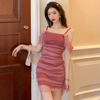 Dress Summer 2021 As shown in the figure S,M,L Short skirt singleton  Sleeveless commute High waist One pace skirt camisole Korean version 51% (inclusive) - 70% (inclusive)