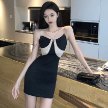 Dress Summer 2021 Black apricot S,M,L Short skirt singleton  Sleeveless commute other High waist Solid color zipper One pace skirt camisole 18-24 years old Type H Korean version zipper 51% (inclusive) - 70% (inclusive)