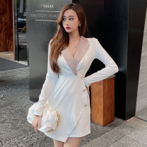 Dress Winter 2020 White, blue S,M,L Short skirt singleton  Long sleeves commute tailored collar High waist Solid color One pace skirt Type H Korean version Splicing 51% (inclusive) - 70% (inclusive) polyester fiber