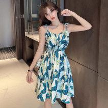Dress Summer 2021 White, blue Average size Short skirt singleton  commute One word collar High waist Decor other 18-24 years old Type H Korean version Backless, printed Q3016 51% (inclusive) - 70% (inclusive) polyester fiber