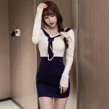 Dress Spring 2021 white S,M,L Short skirt singleton  Long sleeves commute V-neck High waist Socket A-line skirt routine Type A Retro Splicing 91% (inclusive) - 95% (inclusive) cotton
