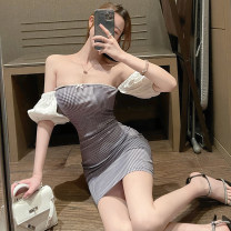 Dress Summer 2021 Black and white check S,M,L Short skirt singleton  Short sleeve commute One word collar High waist lattice zipper One pace skirt routine 25-29 years old Type H Korean version Splicing 51% (inclusive) - 70% (inclusive) polyester fiber