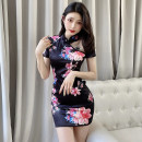 cheongsam Summer 2021 S,M,L Black, white Short sleeve Short cheongsam Retro Low slit daily Oblique lapel Decor 18-25 years old Piping M304 polyester fiber 51% (inclusive) - 70% (inclusive)