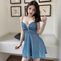Dress Summer 2021 Average size Short skirt singleton  Sleeveless commute V-neck High waist Solid color Socket A-line skirt camisole 18-24 years old Type A Simplicity backless M374 51% (inclusive) - 70% (inclusive) polyester fiber