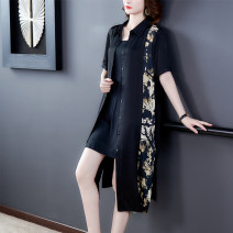 shirt black L,XL,2XL,3XL,4XL Summer 2020 other 30% and below Short sleeve commute Medium length Polo collar Single row multi button routine 35-39 years old Chan Kou