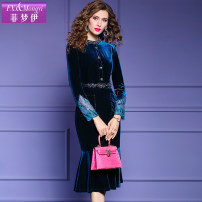 Dress Spring 2021 Color blue S M L XL 2XL 3XL Mid length dress singleton  Long sleeves commute stand collar High waist Solid color zipper routine 30-34 years old Type A FX.&Mongyi Retro Button zipper with beads F20DL35757 91% (inclusive) - 95% (inclusive) polyester fiber Pure e-commerce (online only)