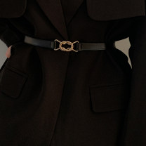Belt / belt / chain Double skin leather Black, brown female belt Versatile Single loop Youth, youth a hook alloy unclecm