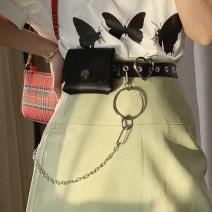 Belt / belt / chain Pu (artificial leather) Individual belt, individual waist chain, waist chain + waist bag + belt, belt + Chain female belt Hip hop Single loop Youth, youth Pin buckle heart-shaped alloy Rivet, chain unclecm