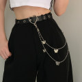 Belt / belt / chain Pu (artificial leather) Separate belt, separate chain, belt + Chain female belt Hip hop Single loop Youth, youth Pin buckle bow unclecm