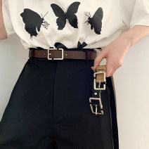 Belt / belt / chain Pu (artificial leather) Black, coffee, Micah female belt Simplicity Single loop Youth, youth Pin buckle Geometric pattern 2.2cm alloy Uncle cimao