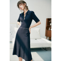 Dress Spring 2021 Navy Blue XS,S,M,L,XL longuette singleton  Short sleeve commute Polo collar High waist Solid color Socket other routine Others 25-29 years old Type X Pig house / gentle pig lady LB2102CQ595 31% (inclusive) - 50% (inclusive) other wool