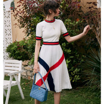 Dress Spring 2021 White, navy blue 0,1,2,3,4,5 Mid length dress singleton  Short sleeve commute Crew neck High waist stripe Socket A-line skirt routine Others 25-29 years old Type X Pig house / gentle pig lady More than 95% other polyester fiber
