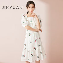 Dress Spring 2021 white S M L longuette singleton  Short sleeve commute square neck High waist Decor Socket A-line skirt routine 25-29 years old Type A Jinyuan printing G211111 More than 95% cotton Cotton 100% Same model in shopping mall (sold online and offline)