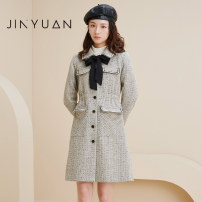 Dress Winter 2020 grey S M L Middle-skirt singleton  Long sleeves Sweet Polo collar Elastic waist Single breasted A-line skirt routine 25-29 years old Type H Jinyuan G205108 51% (inclusive) - 70% (inclusive) other polyester fiber Polyester 65.5% wool 23.5% polyacrylonitrile 7.7% others 3.3% college
