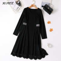Dress Winter 2020 black L,XL,2XL,3XL,4XL,5XL Mid length dress singleton  Long sleeves commute V-neck Loose waist Solid color Socket Big swing routine Type A Korean version Zipper, lace, hollow, stitching, diamond
