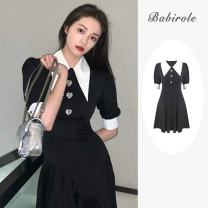 Dress Summer 2021 black S,M,L,XL singleton  elbow sleeve commute square neck High waist Single breasted other routine 18-24 years old Type X 31% (inclusive) - 50% (inclusive) Chiffon polyester fiber