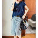 T-shirt Blue, rose M,L,XL,2XL,3XL Summer 2021 Short sleeve Crew neck easy Regular routine commute cotton 86% (inclusive) -95% (inclusive) 30-39 years old Korean version originality letter Clothing music A1416 Sequins, prints