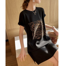Dress Summer 2021 black M,L,XL,2XL,3XL,4XL Mid length dress singleton  Short sleeve commute Crew neck Loose waist Abstract pattern Socket other routine Others 35-39 years old Type H Clothing music Korean version A0935 91% (inclusive) - 95% (inclusive) brocade cotton