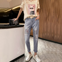 Jeans Summer 2020 blue 26,27,28,29,30 Ninth pants Natural waist Straight pants routine 35-39 years old Nail beads, worn, sequins other light colour A0988 Clothing music 91% (inclusive) - 95% (inclusive)