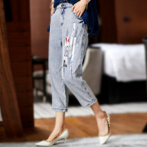 Jeans Summer 2020 blue M,L,XL,2XL,3XL Cropped Trousers Natural waist Straight pants routine 35-39 years old other light colour A1156 Clothing music 96% and above