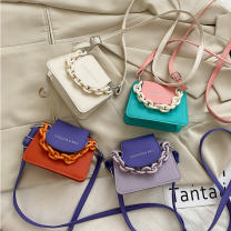 Bag Inclined shoulder bag PU Small square bag Ruvanni brand new Japan and South Korea Small leisure time soft Magnetic buckle no Solid color Single root One shoulder portable messenger nothing youth Horizontal square Sewing Telescopic handle soft surface