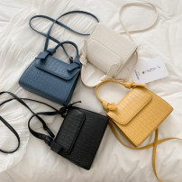 Bag Inclined shoulder bag PU Small square bag Ruvanni Black, yellow, blue, white brand new Japan and South Korea Small leisure time soft Cover type no Solid color Single root One shoulder portable messenger nothing youth Vertical square Sewing Telescopic handle soft surface