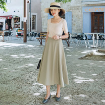 skirt Summer of 2019 S,M,L Rice apricot, Matcha green Mid length dress Retro High waist A-line skirt Solid color Type A Q3620 91% (inclusive) - 95% (inclusive) other Froth polyester fiber Button